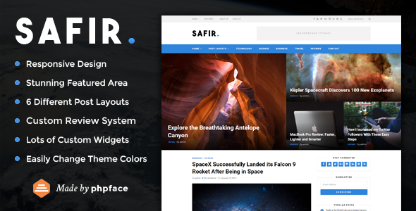 Safir – A WordPress Blog Theme