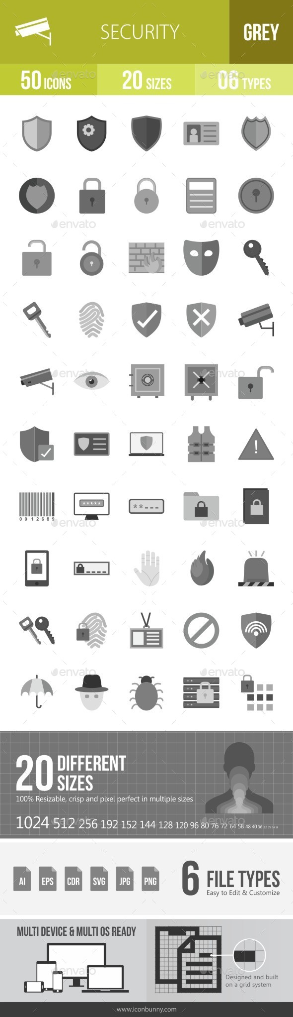 Security Greyscale Icons - Icons