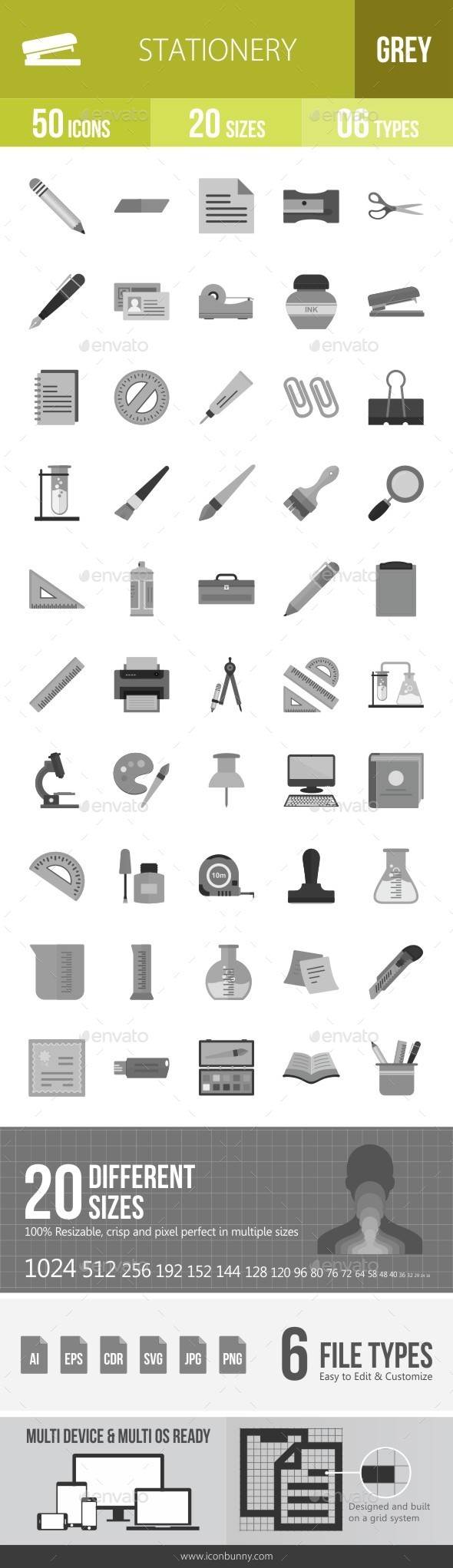 Stationery Greyscale Icons - Icons