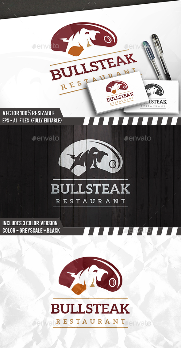 Bull Steak Logo - Animals Logo Templates