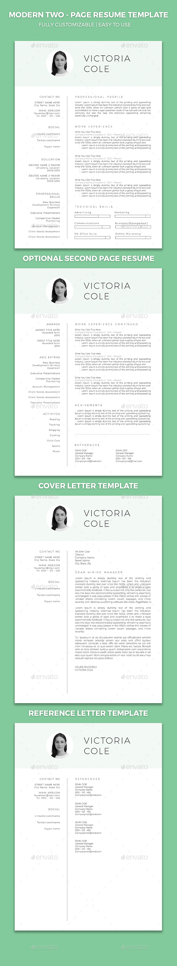 Resume Template with Cover Letter and Reference Letter - Resumes Stationery