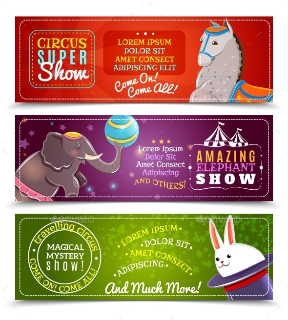 Travelling Circus Flat Horizontal Banners Set   - Miscellaneous Conceptual