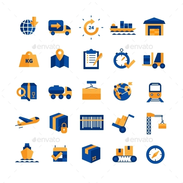 Logistics Icons Set - Man-made objects Objects