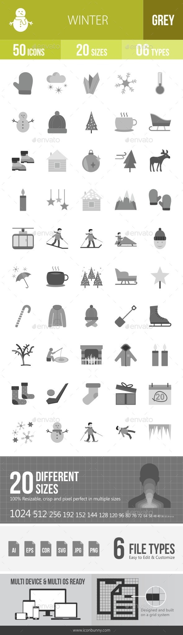 Winter Greyscale Icons - Icons