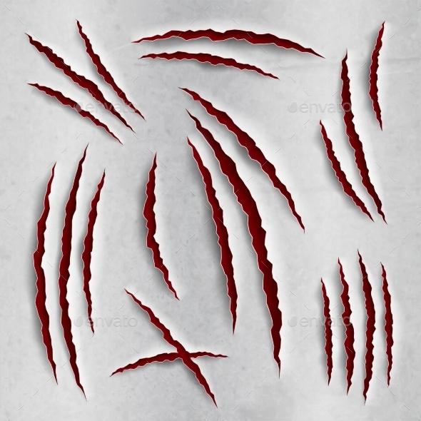 Claw Scratches Set - Decorative Vectors