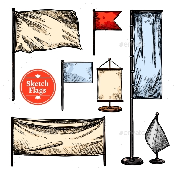 Sketch Flags Set - Man-made Objects Objects