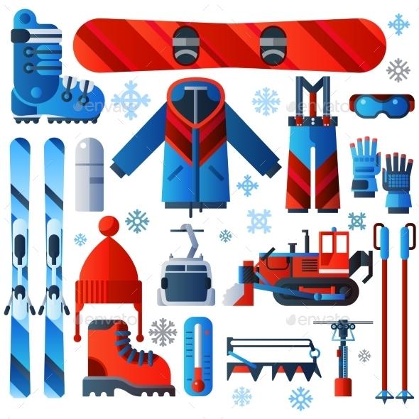Flat Color Isolated Skiing Icons - Decorative Symbols Decorative