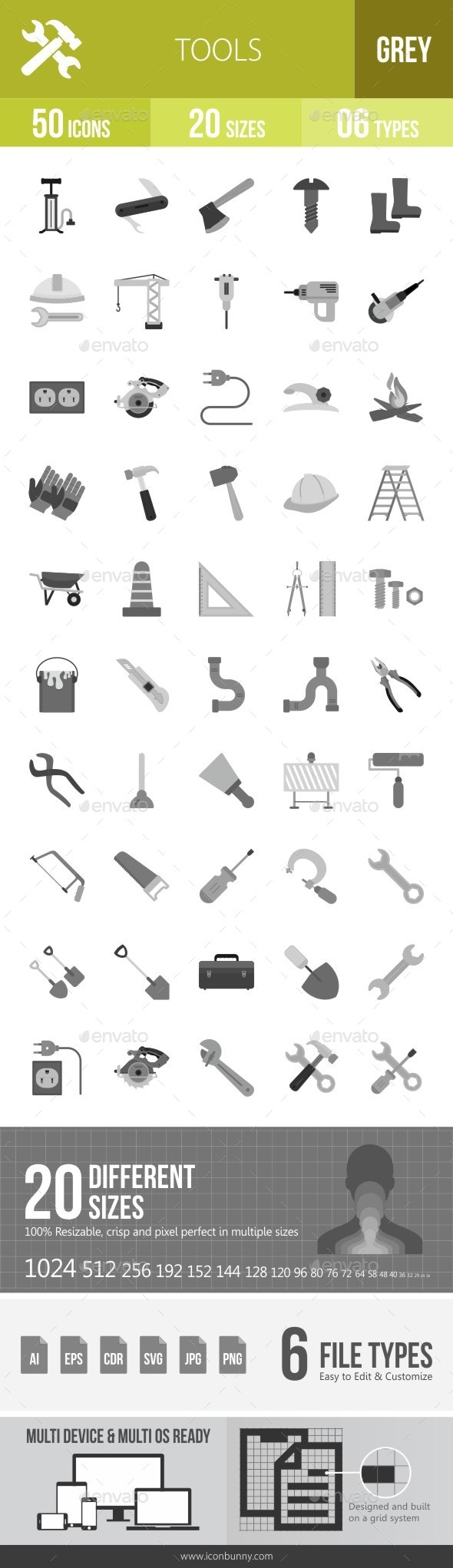 Tools Greyscale Icons - Icons