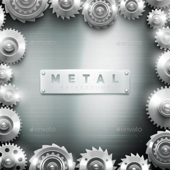 Metal Cogwheel Frame Design Background  - Backgrounds Decorative
