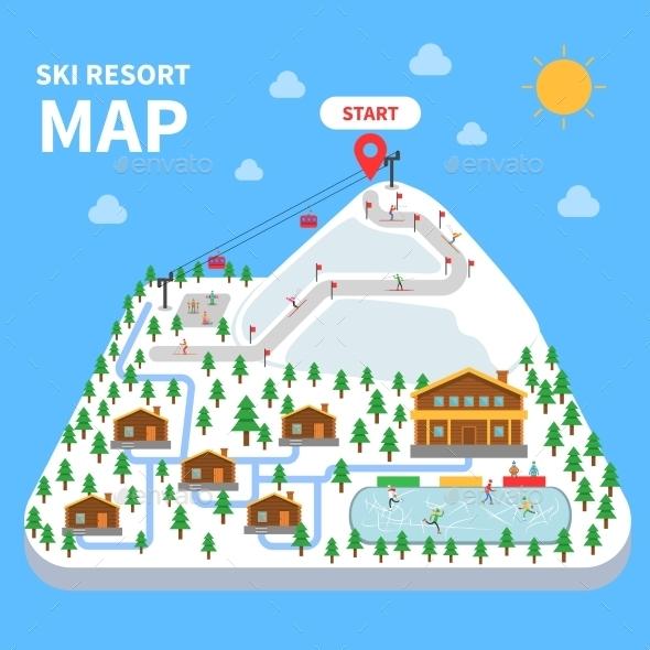 Ski Resort Map - Decorative Symbols Decorative