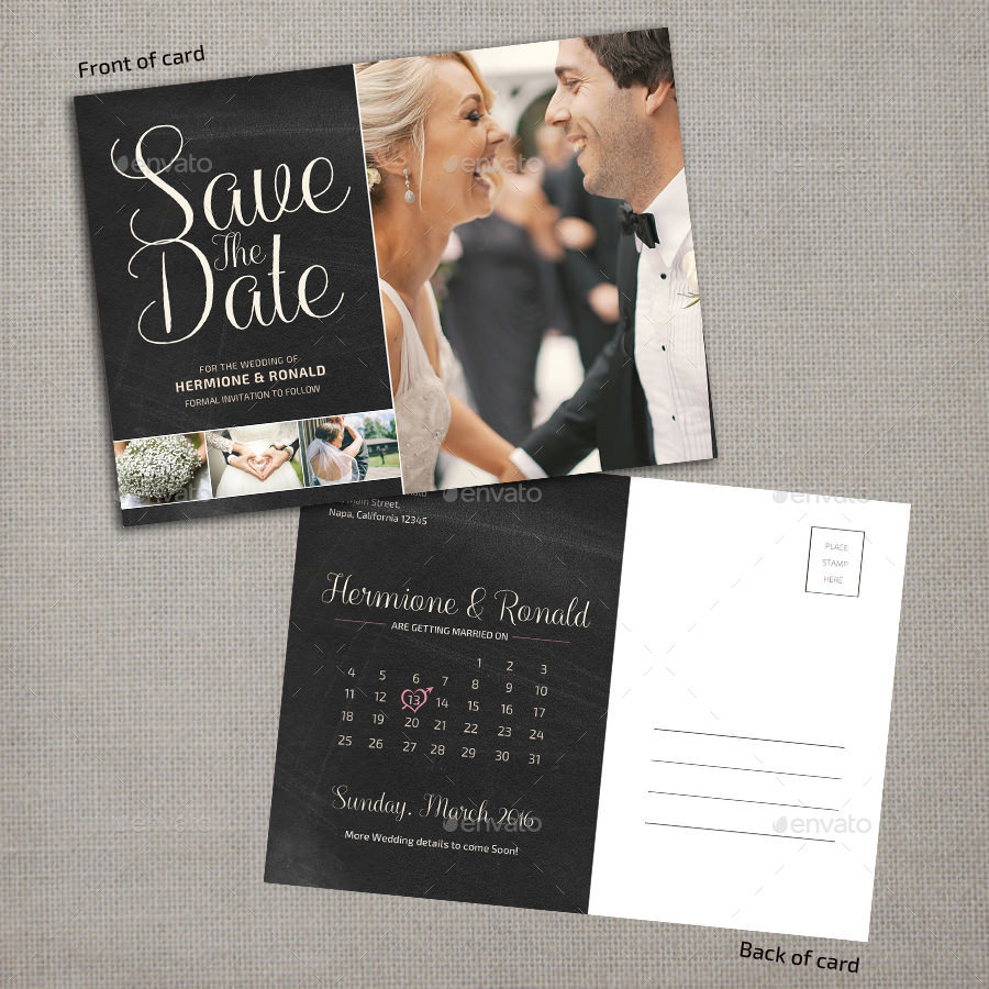 Save The Date Calendar Postcard By Pallabip GraphicRiver - Save the date calendar template