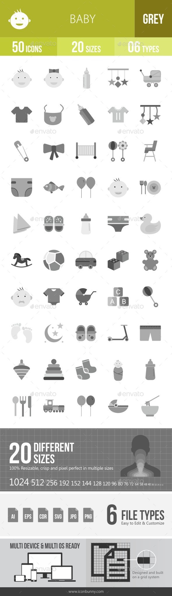 Baby Greyscale Icons - Icons