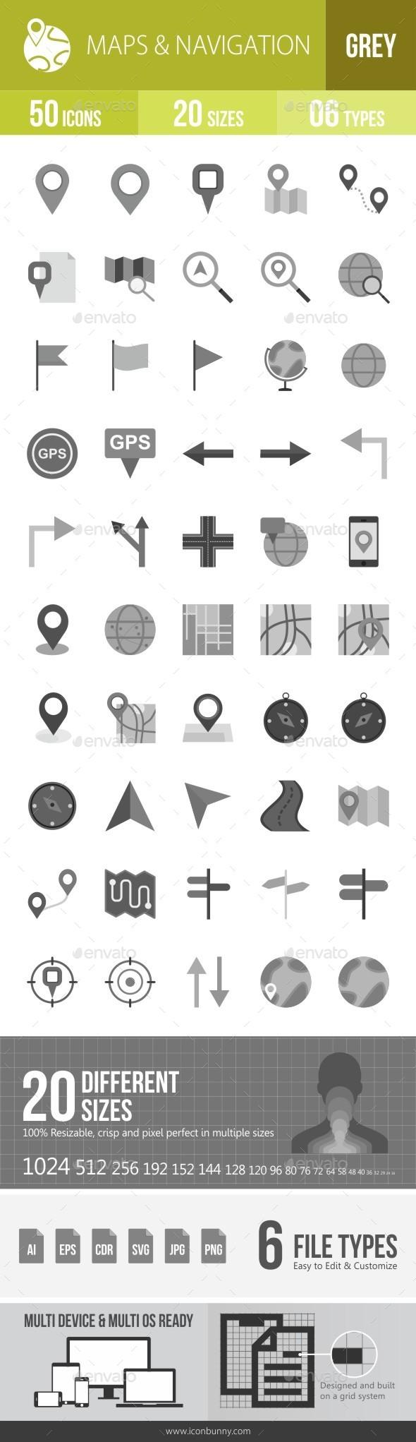 Maps & Navigation Greyscale Icons - Icons