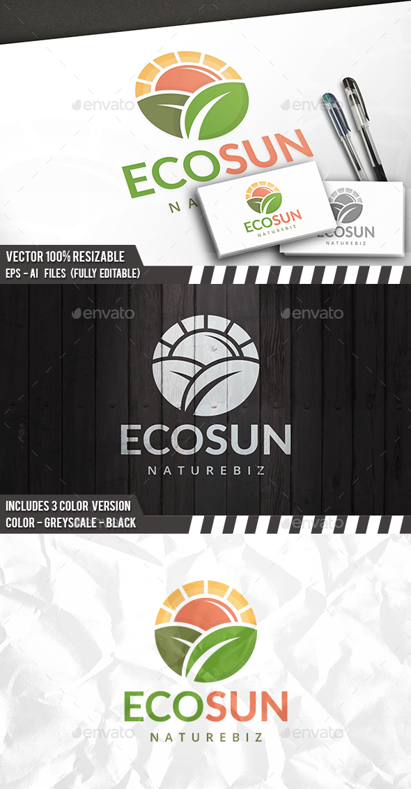 Eco Sun Logo - Nature Logo Templates