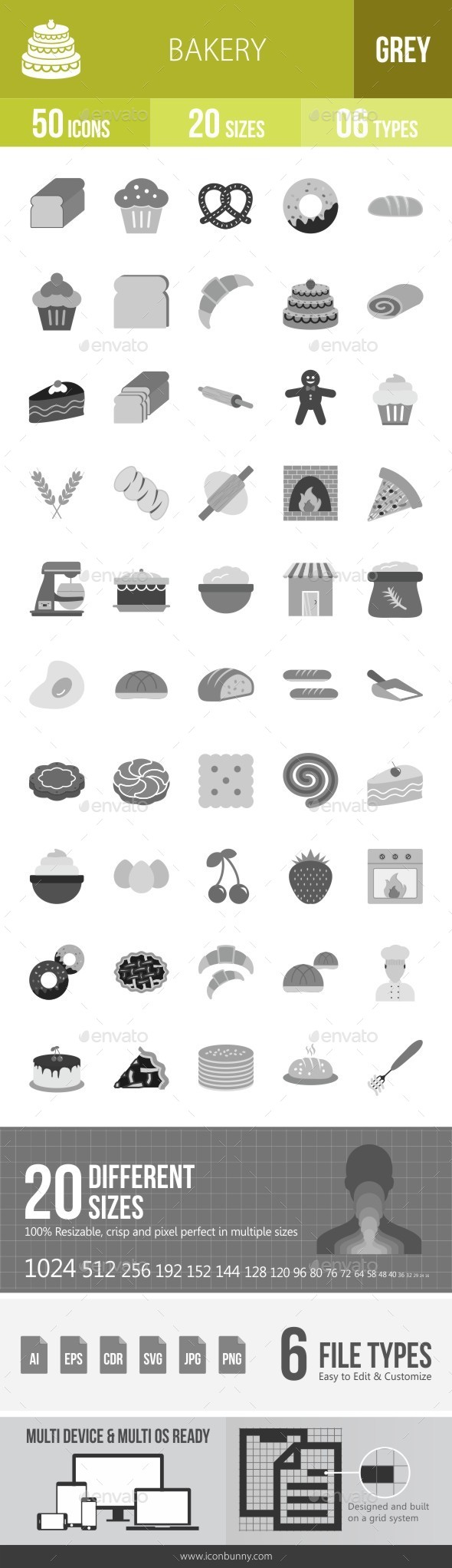 Bakery Greyscale Icons - Icons