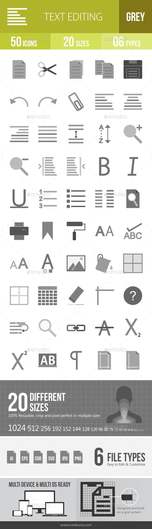 Text Editing Greyscale Icons - Icons