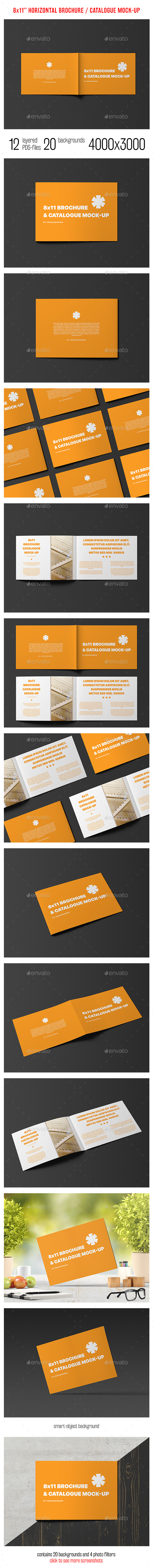 8x11 Horizontal Brochure / Catalogue Mock-Up - Brochures Print
