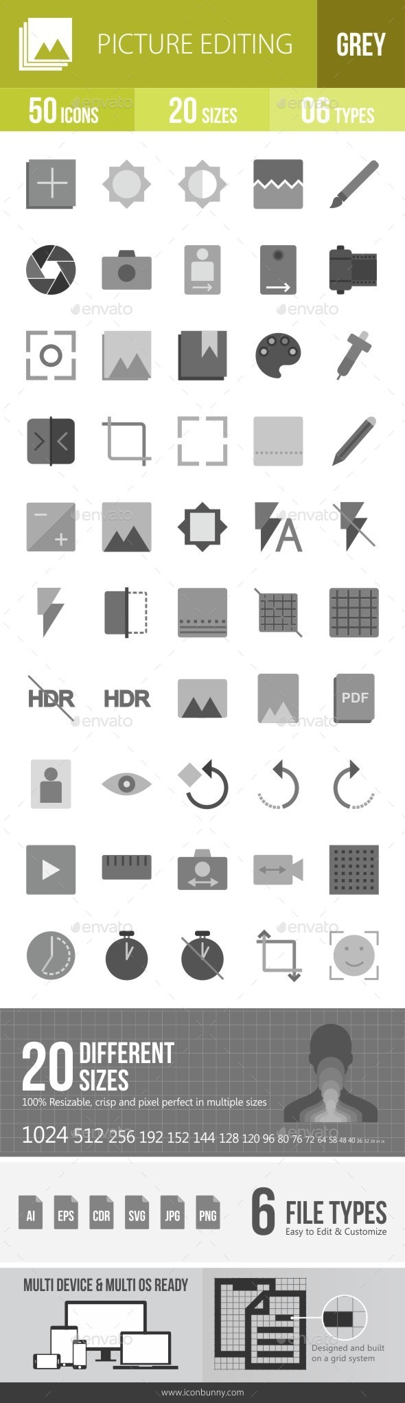 Picture Editing Greyscale Icons - Icons