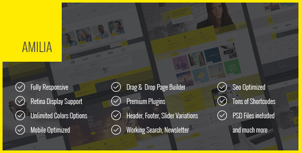 Amilia – Multipurpose One & Multi Page WP Theme