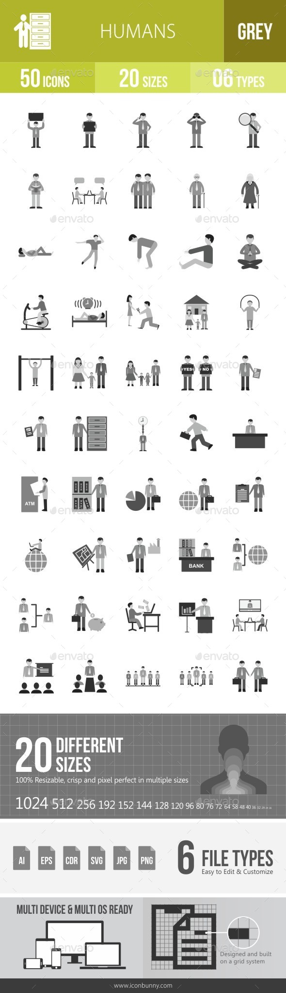 Humans Greyscale Icons - Icons