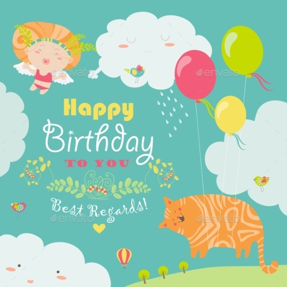Happy Birthday Card With Cute Cat And Angel - Birthdays Seasons/Holidays