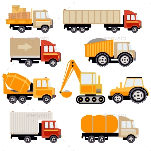 Work Trucks Flat Vector Set - Backgrounds Decorative