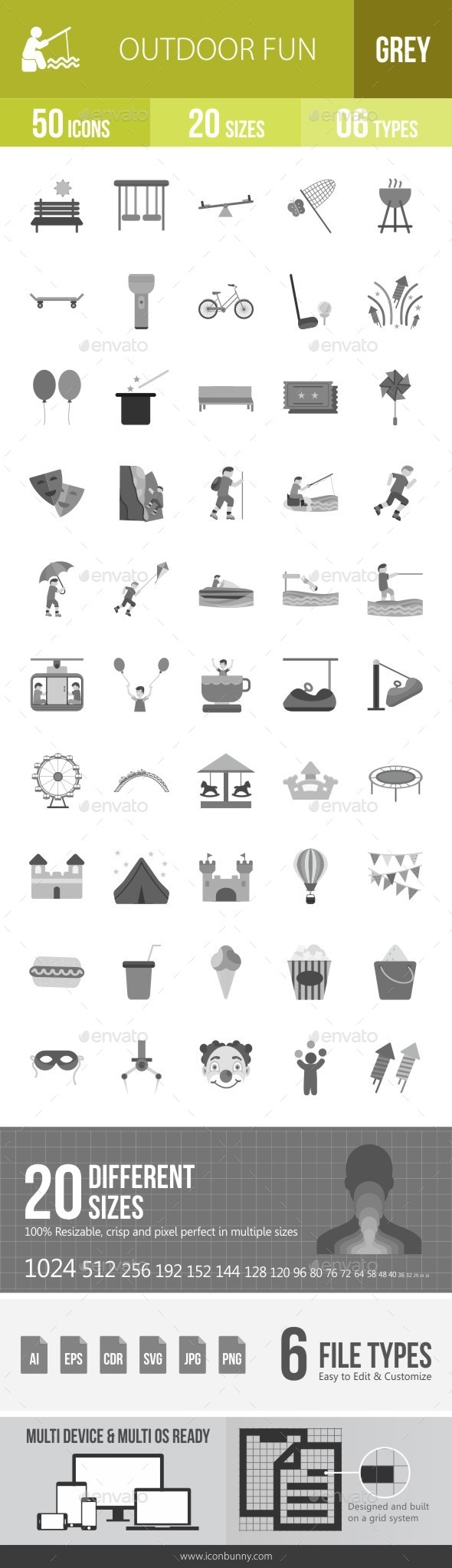 Outdoor Fun Greyscale Icons - Icons