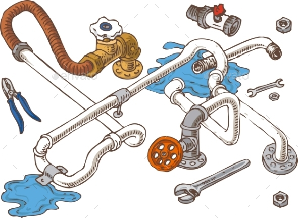 Sanitary Engineering Composition With Pipes - Miscellaneous Conceptual