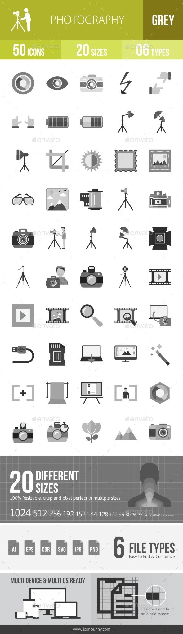 Photography Greyscale Icons - Icons