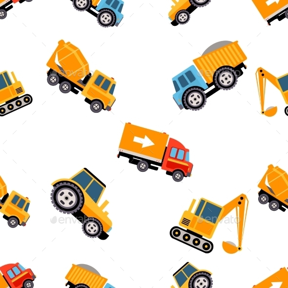Work Trucks Seamless Pattern. Vector Illustration - Patterns Decorative