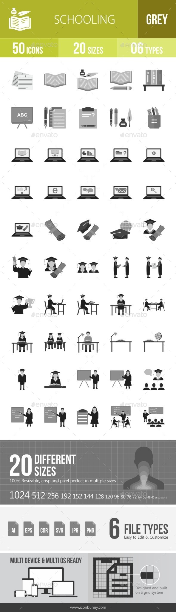 Schooling Greyscale Icons - Icons