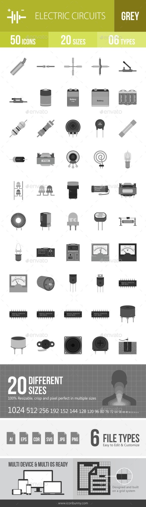 Electric Circuits Greyscale Icons - Icons