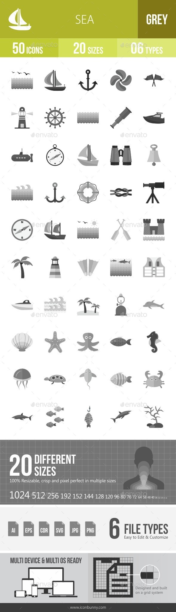 Sea Greyscale Icons - Icons