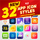32 Icon App Styles - GraphicRiver Item for Sale