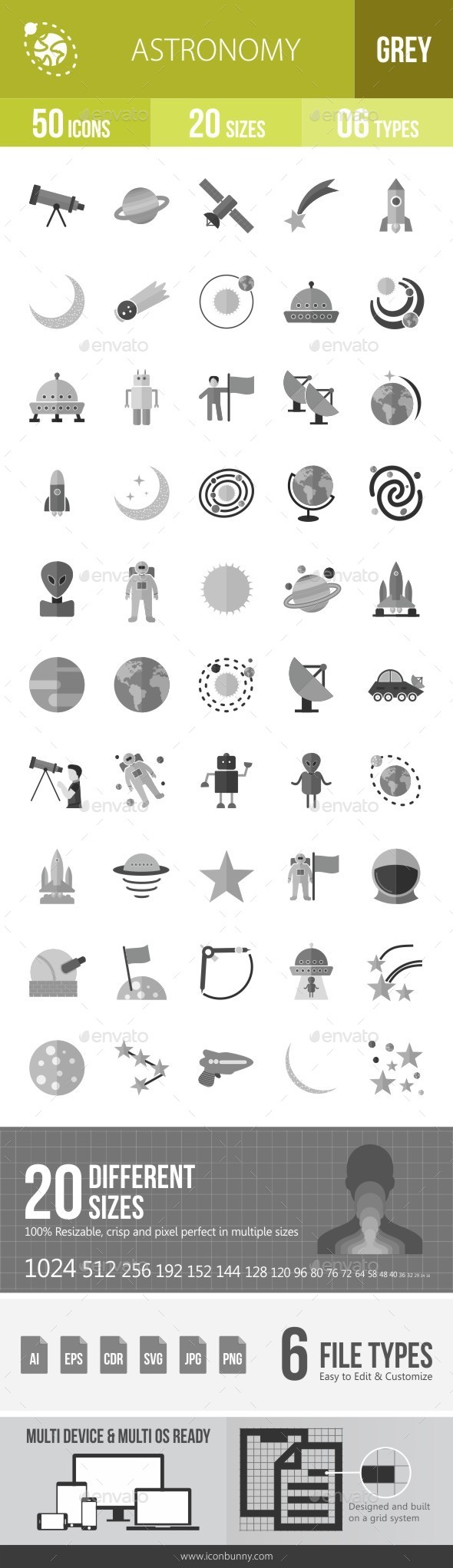 Astronomy Greyscale Icons - Icons
