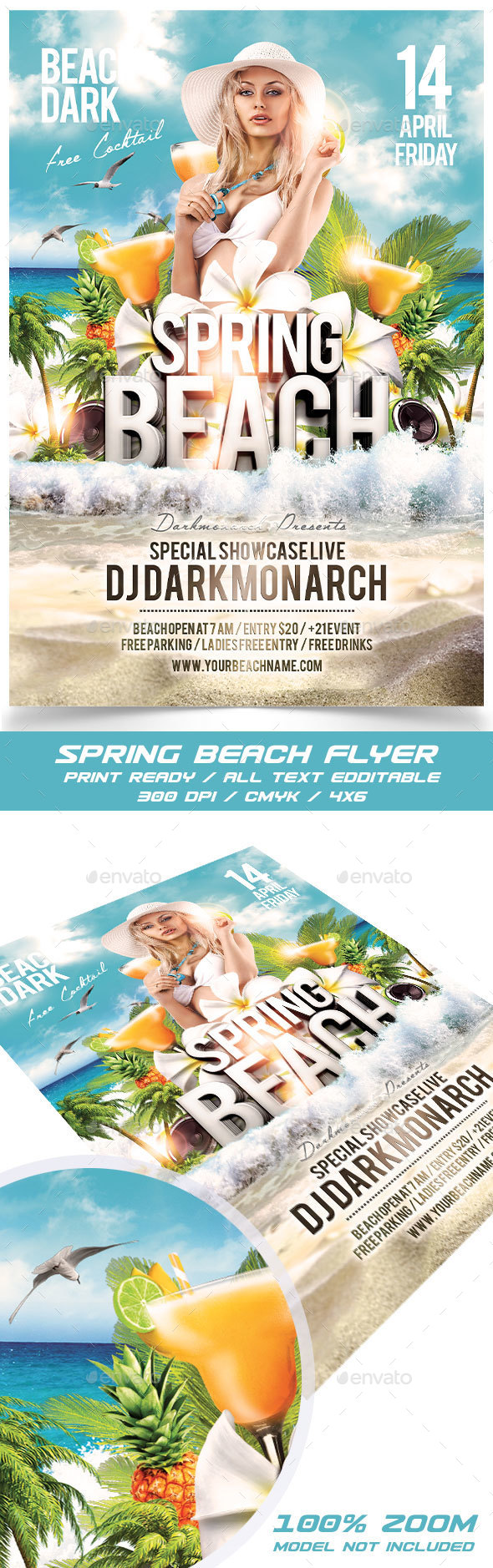 Spring Beach Party - Events Flyers