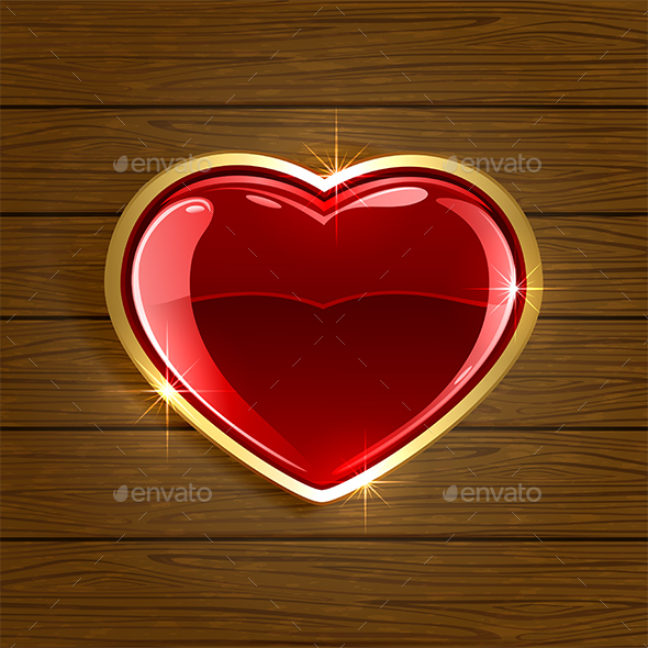 Heart on Wooden Background - Valentines Seasons/Holidays