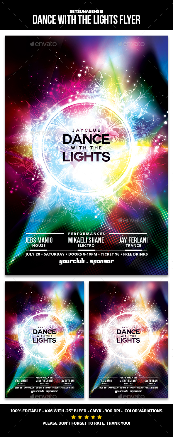Dance with the Lights Flyer - Clubs & Parties Events