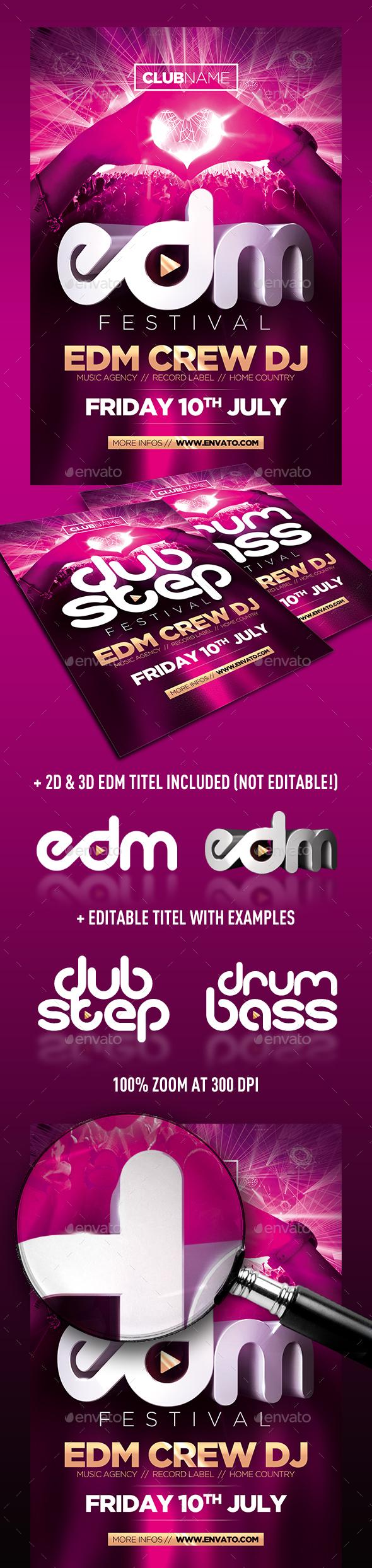 EDM FESTIVAL FLYER 3D - Clubs & Parties Events