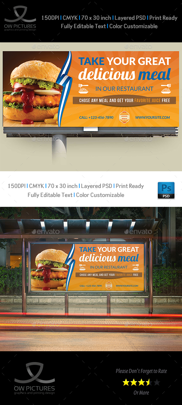 Burger Restaurant Billboard Template Vol.6 - Signage Print Templates