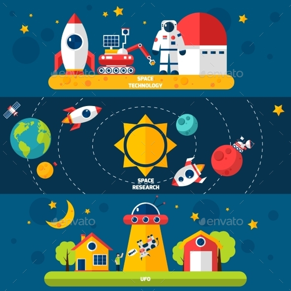 Space Exploration 3 Flat Banners Set - Miscellaneous Conceptual