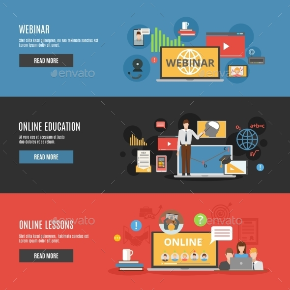 Online Education Flat Horizontal Banners - Backgrounds Business