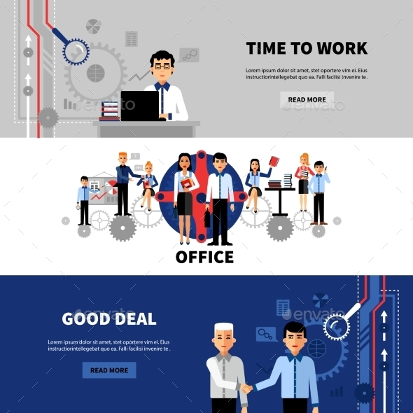 Business People 3 Flat Banners Set - Business Conceptual