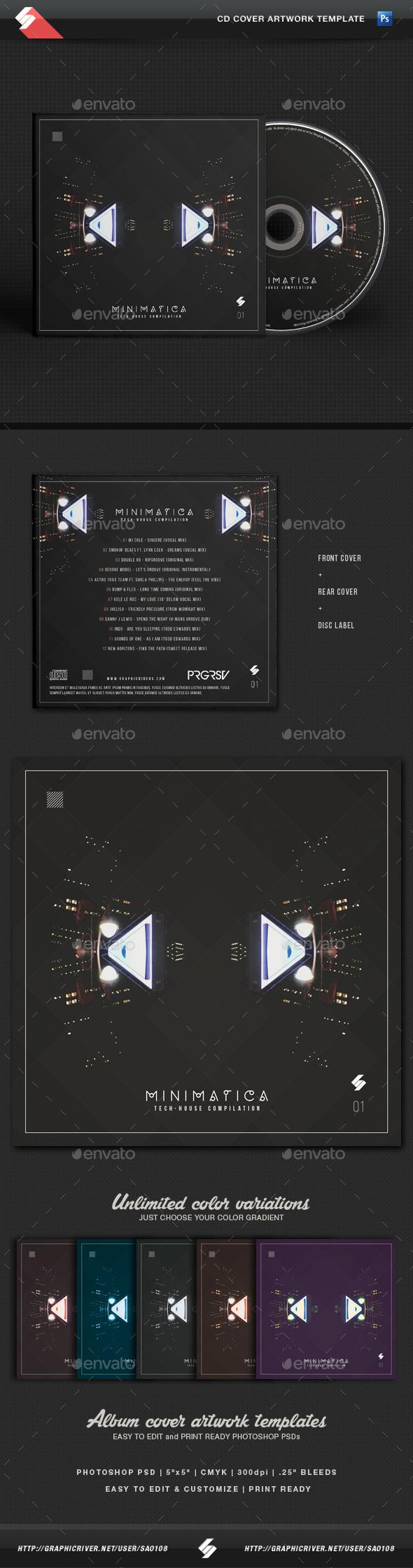 Minimatica - Minimal Techno CD Cover Template - CD & DVD Artwork Print Templates