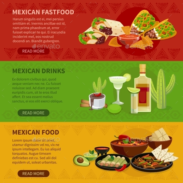 Mexican Food 3 Horizontal Banners Set - Miscellaneous Conceptual