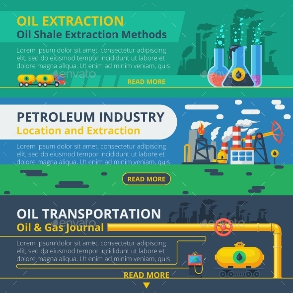 Oil Industry Banner Set - Business Conceptual