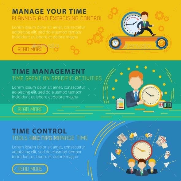 Time Management Horiizontal Banners Set - Business Conceptual