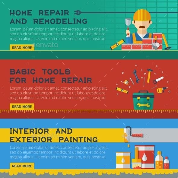 Home Repair Service Flat Banners Set - Business Conceptual