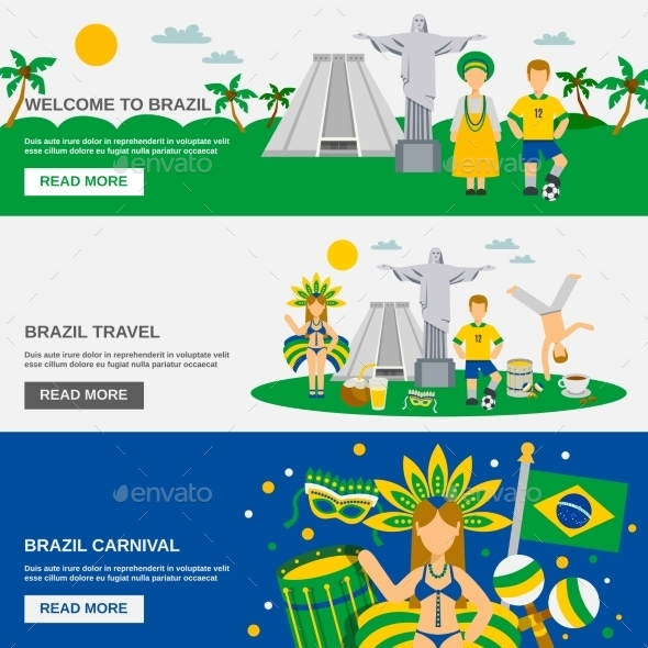 Brazilian Culture 3 Flat Banners Set - Travel Conceptual