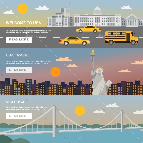 Flat Banners Set USA TRavel Information - Travel Conceptual